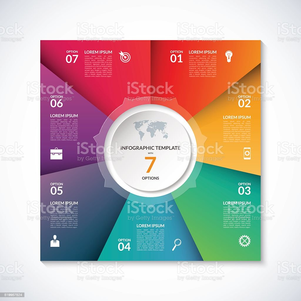 Vector infographic square template with 7 options vector art illustration