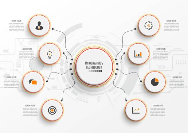 Tecnología de infografía vectorial con etiqueta de papel 3D, círculos integrados. Concepto de negocio con 8 opciones. De contenido, diagrama, diagrama de flujo, pasos, partes, infografías de la línea de tiempo, flujo de trabajo, carta. - ilustración de arte vectorial