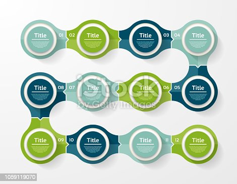 Vector infographic template for diagram, graph, presentation and chart. Business concept with 12 options, parts, steps or processes