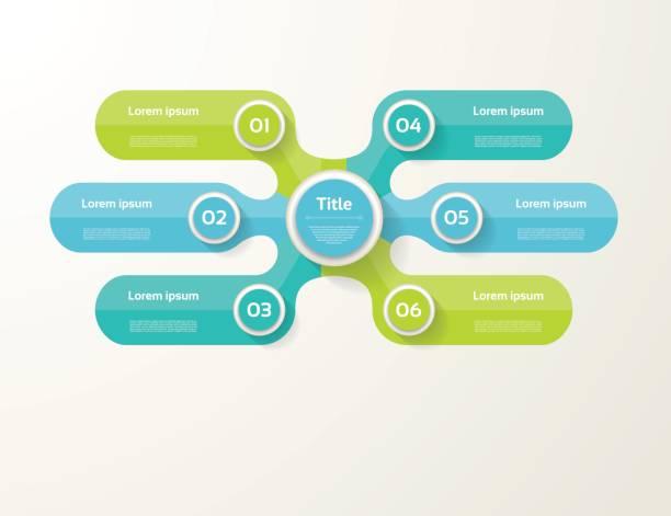 stockillustraties, clipart, cartoons en iconen met vector infographic sjabloon voor diagram-, grafiek-, presentatie- en grafiek. businessconcept met 6 opties, onderdelen, stappen of processen - 6 7 jaar
