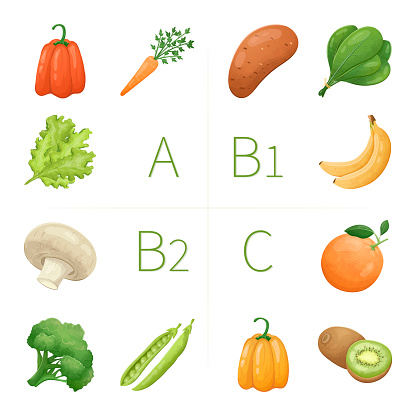 Vector infographic template on the topic of healthy food and vitamins. Illustration of fresh natural vegetables and fruits with nutrients.