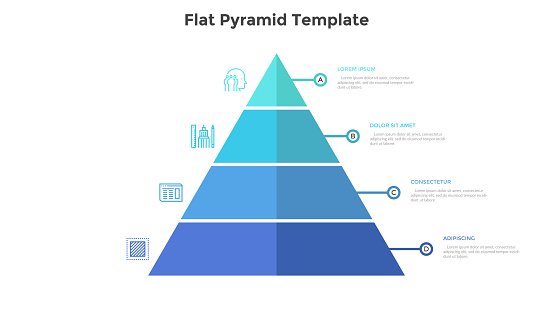 Segmented pyramidal chart with four colorful stages or levels. Concept of 4 steps of business analysis. Simple infographic design template. Flat vector illustration for presentation, report, banner.