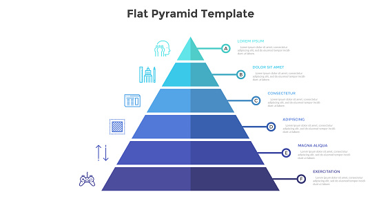 Segmented pyramidal chart with six colorful stages or levels. Concept of 6 steps of business analysis. Simple infographic design template. Flat vector illustration for presentation, report, banner.