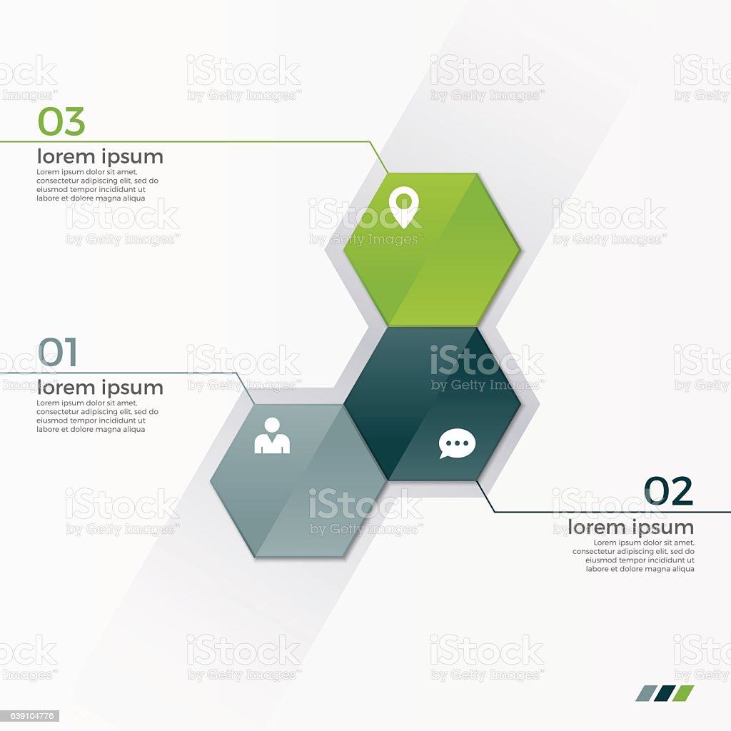 Vector infographic template with 3 hexagons vector art illustration