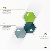 Vector infographic template with 3 hexagons
