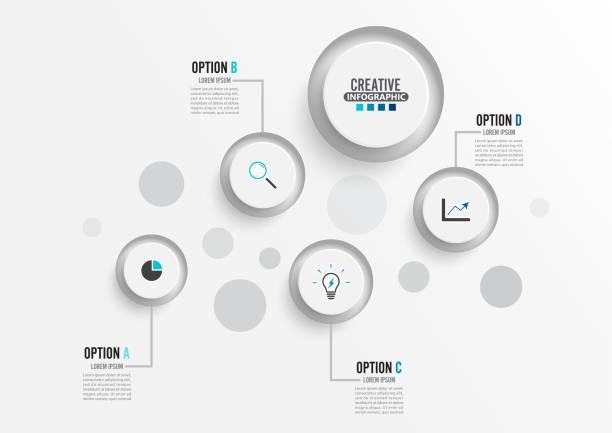 Plantilla Infográfica vectorial con etiqueta de papel 3D, concepto de negocio con 4 opciones. Para contenido, diagrama, organigrama, pasos, partes, infografías de línea de tiempo, flujo de trabajo, gráfico. - ilustración de arte vectorial