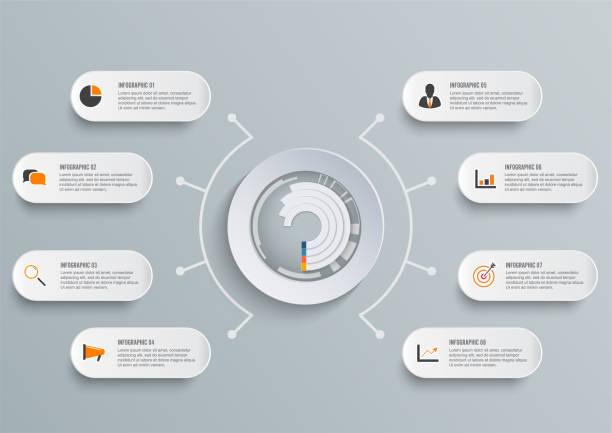 Plantilla de vector infografía con etiqueta de papel 3D, círculos integrados. Concepto de negocio con 8 opciones. De contenido, diagrama, diagrama de flujo, pasos, partes, infografías de la línea de tiempo, flujo de trabajo, carta. - ilustración de arte vectorial