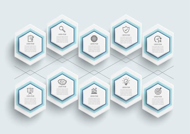Plantilla de infografía vectorial con etiqueta de papel 3D, círculos integrados. Concepto de negocio con 10 opciones. Para contenido, diagrama, diagramas de flujo, pasos, partes, infografías de línea de tiempo. - ilustración de arte vectorial