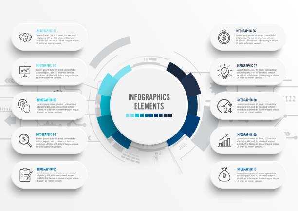 Plantilla infográfica vectorial con etiqueta de papel 3D, círculos integrados. Concepto de negocio con 10 opciones. Para contenido, diagrama, diagrama de flujo, pasos, partes, infografías de escala de tiempo, flujo de trabajo, gráfico. - ilustración de arte vectorial