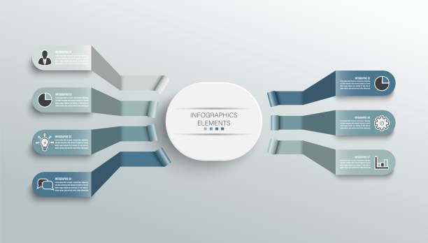 Plantilla infográfica vectorial con etiqueta de papel 3D, círculos integrados. Concepto de negocio con 7 opciones. Para contenido, diagrama, diagrama de flujo, pasos, partes, infografías de escala de tiempo, flujo de trabajo, gráfico. - ilustración de arte vectorial