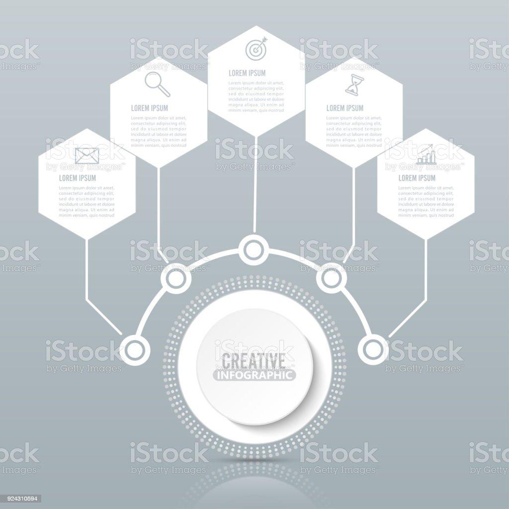 Vektor Infografik Vorlage Mit 3d Papieretikett Integrierte Kreisen ...