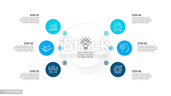 istock Vector infographic template with circles. Business concept with 6 options. 1150432534