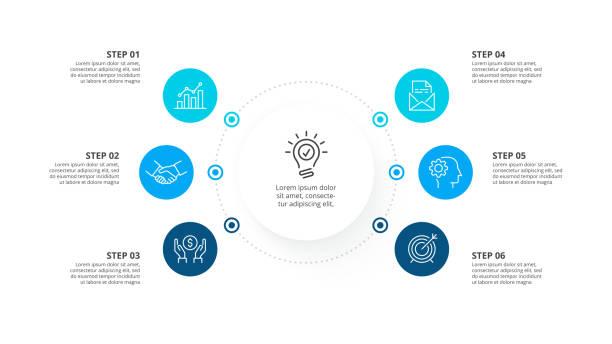 ilustrações, clipart, desenhos animados e ícones de molde infográfico do vetor com círculos. conceito do negócio com 6 opções. - infographic