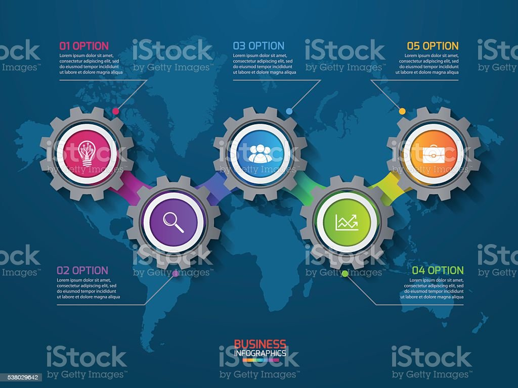 Vector infographic template with gears and world map vector art illustration