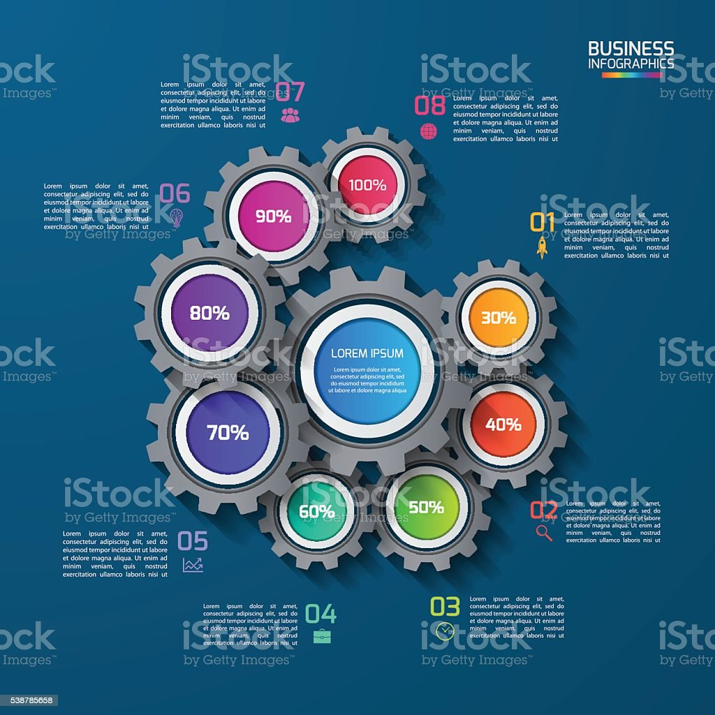 Vector infographic template with gears, cogwheels vector art illustration