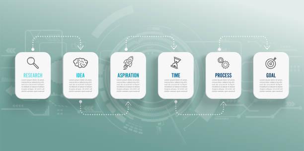 Plantilla de infografía vectorial con iconos y 6 opciones o pasos. Infografías para el concepto de negocio. Se puede utilizar para presentaciones de Banner, diseño de flujo de trabajo, diagrama de procesos, diagramas de flujo, gráfico de información. - ilustración de arte vectorial