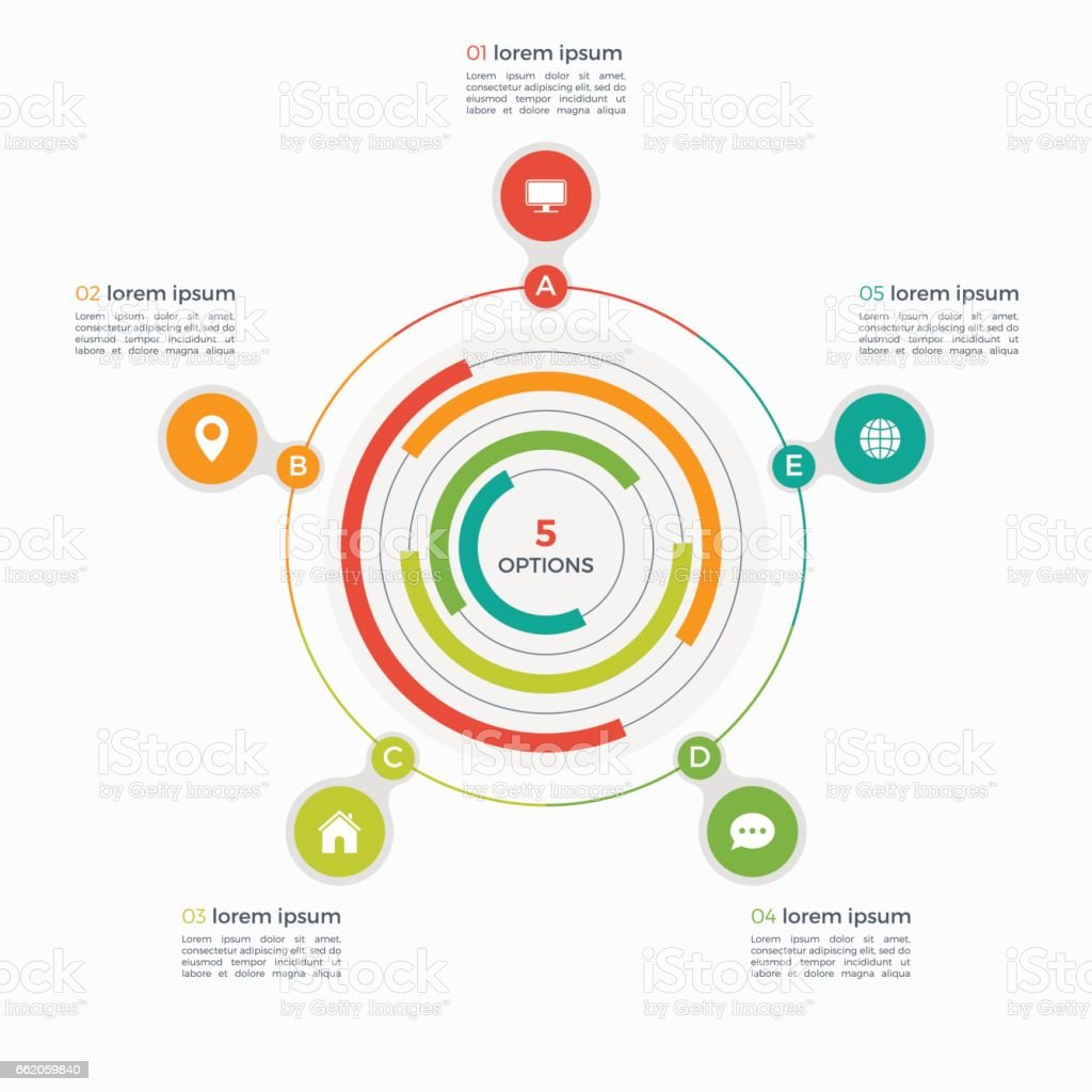 Vector infographic template with integrated circles 5 steps royalty-free vector infographic template with integrated circles 5 steps stock vector art & more images of brochure