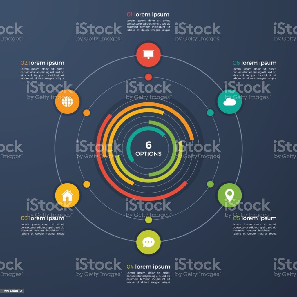 Vector infographic template with integrated circles 6 options royalty-free vector infographic template with integrated circles 6 options stock vector art & more images of brochure