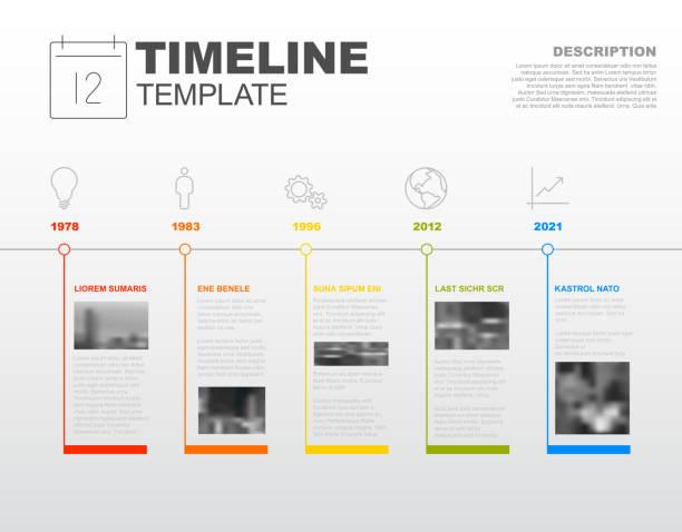 벡터 인포그래픽 회사연혁 보고서 템플릿 - timeline stock illustrations