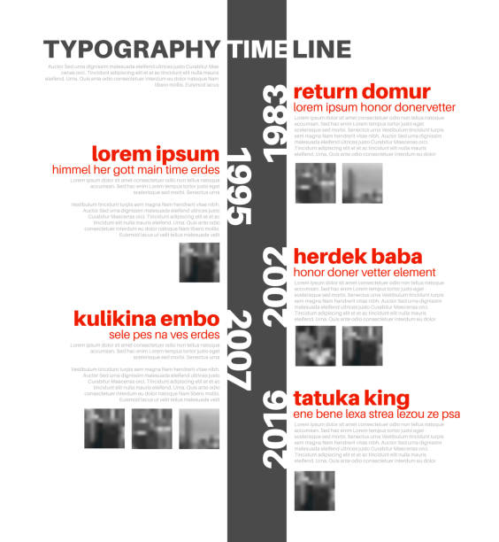 vector infographic typography timeline report template - vertical stock illustrations, clip art, cartoons, & icons