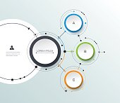Vector infographic with 3D paper label, integrated circles backgroud