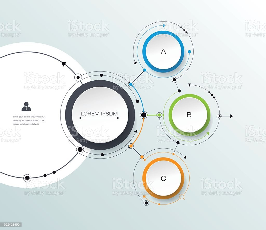 Vector infographic with 3D paper label, integrated circles backgroud - Illustration vectorielle