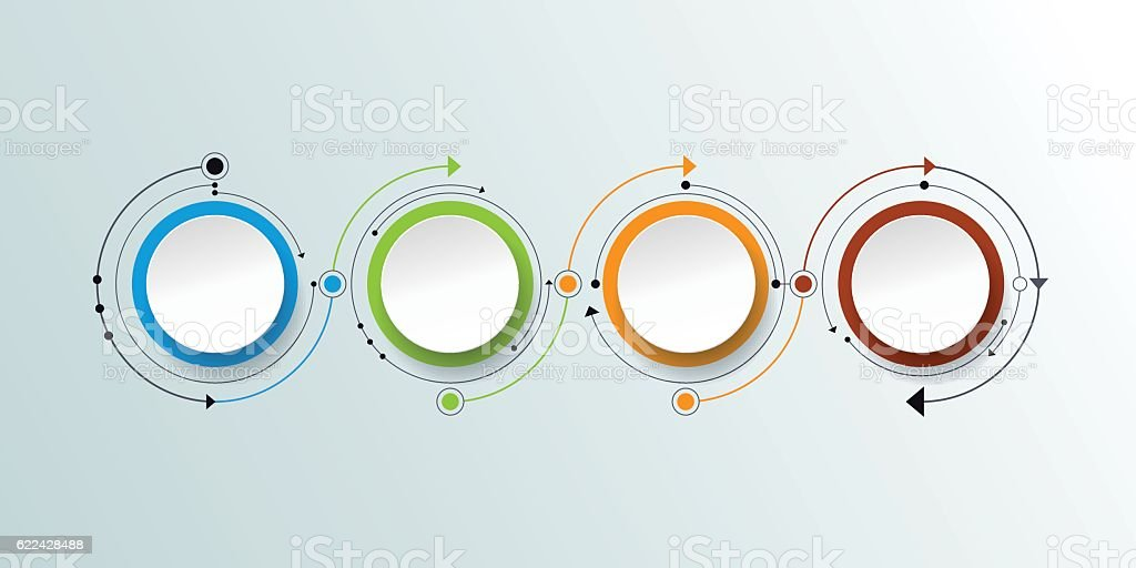 Vector infographic with 3D paper label, integrated circles backgroud vector art illustration