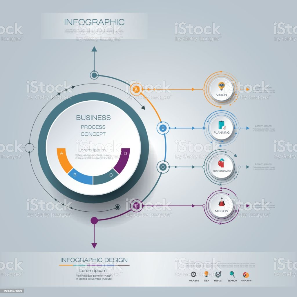 Vector infographics 3D circle label with arrows sign and 4 options royalty-free vector infographics 3d circle label with arrows sign and 4 options stock vector art & more images of abstract