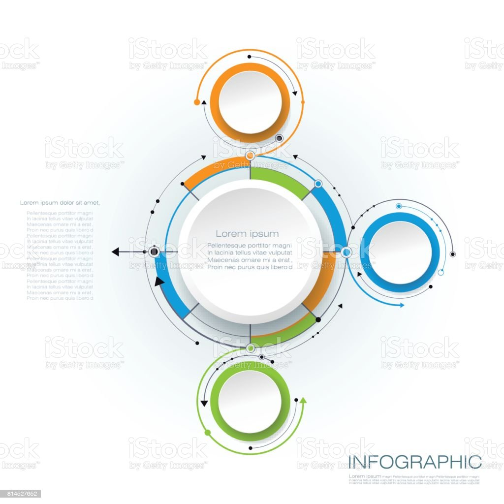 Vector Infographics 3d Paper Cycle Diagram Template Stock Vector Art