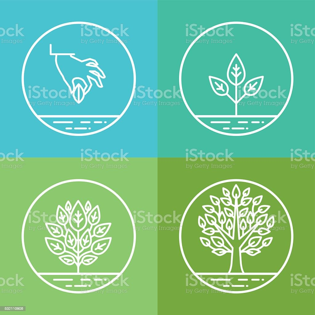Vector infographics design elements and icons in linear style vector art illustration