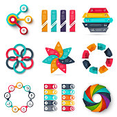 Vector infographics design template set. Business concept with 3, 4, 5, 6, 7, 8, 9 and 10 options, parts, steps or processes. Can be used for workflow layout, presentation, number options, web design.