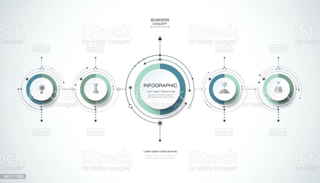 Modèle de conception infographie vectorielle avec étiquette en papier 3D - Illustration vectorielle