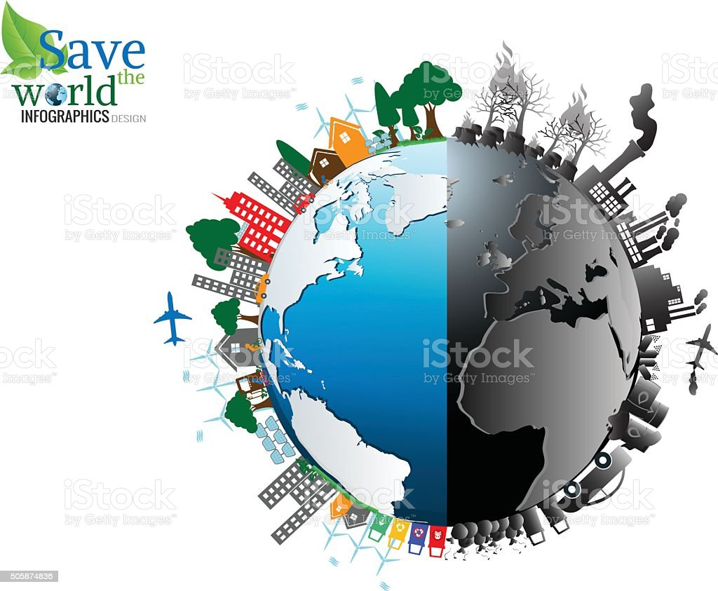 Vector Infographics design with environment two-side vector art illustration