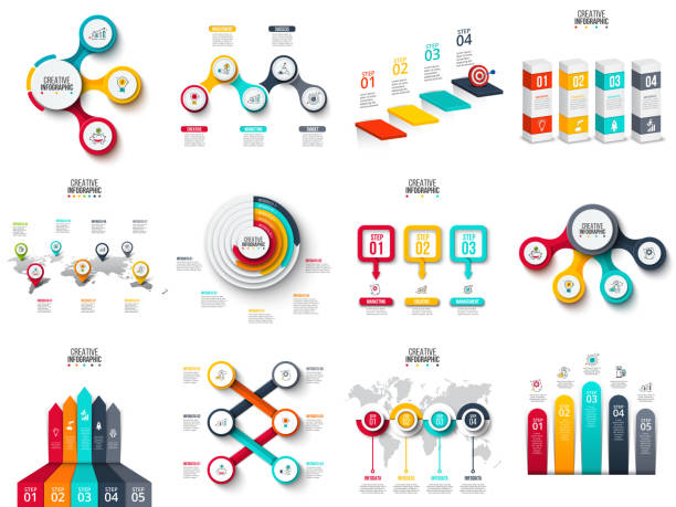 Vector infographics, diagram, chart, graph and presentation. Business report with 3, 4, 5, 6 and 7 options, parts, steps processes. Arrows, circles, target, columns, map and timeline. vector art illustration