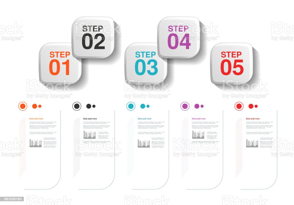 Vector Infographics Five Steps Design Template With Labels Company