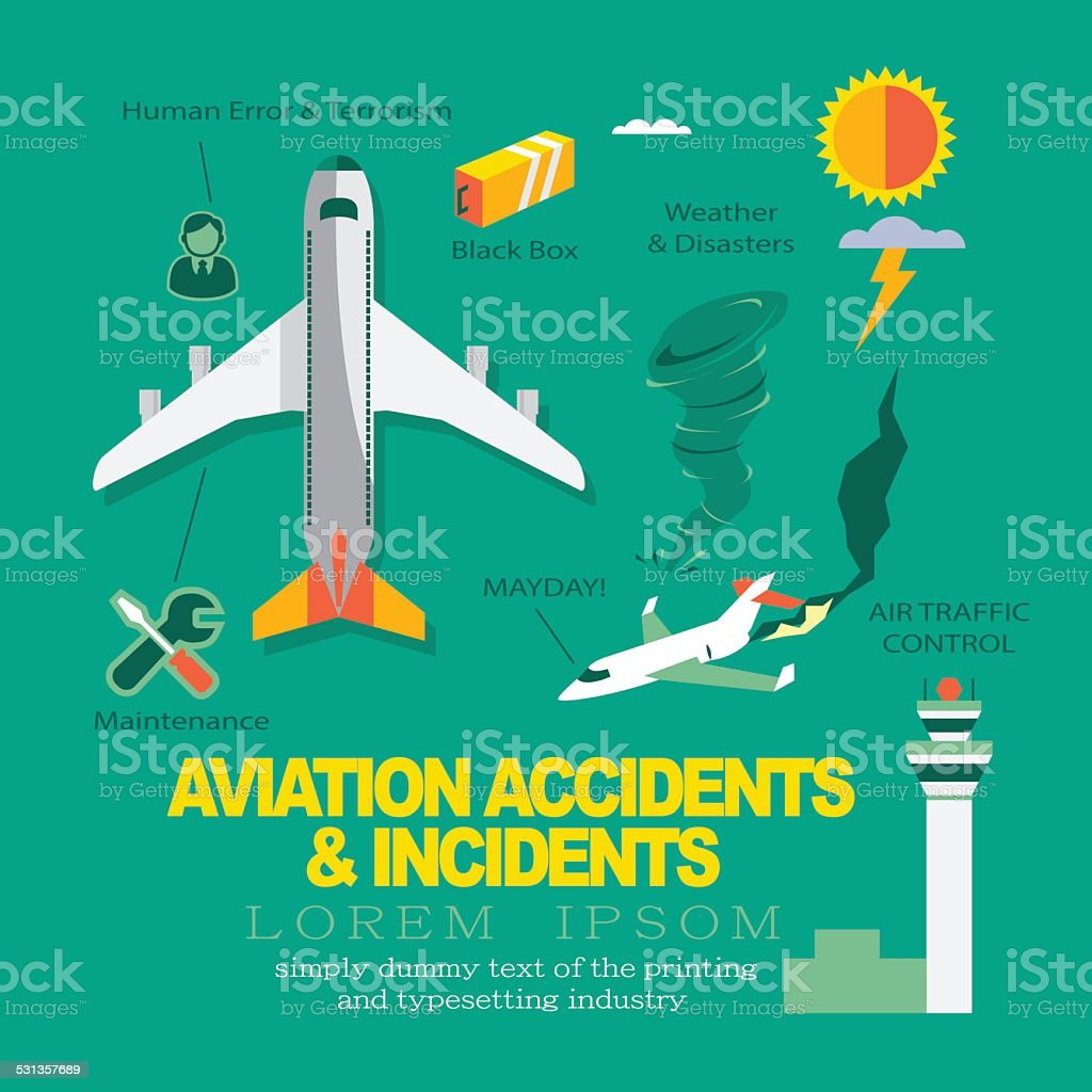 Vector Infographics Flat Design about Aviation Accidents & Incidents. vector art illustration