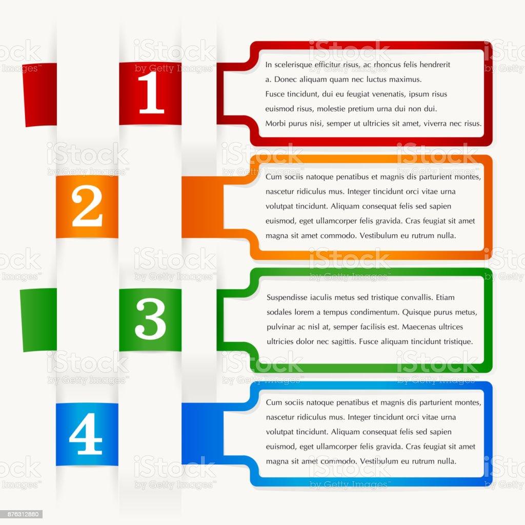 Vektorinfografiken Vier Schritte Verschiedene Farben Rahmen Von ...