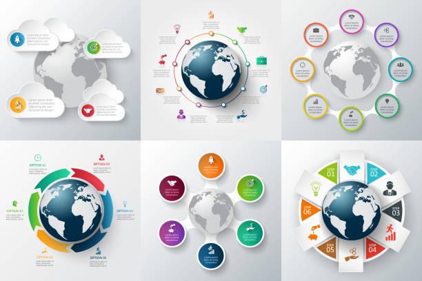 illustrations, cliparts, dessins animés et icônes de vecteur monde infographie ensemble de modèle. - nuage 6