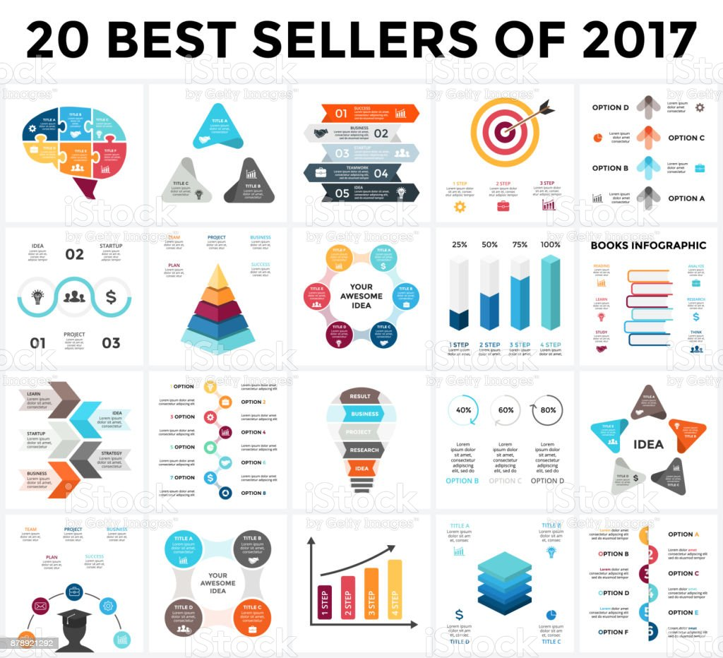 Vector Infographics Set 20 Best Sellers Of 2018 Business
