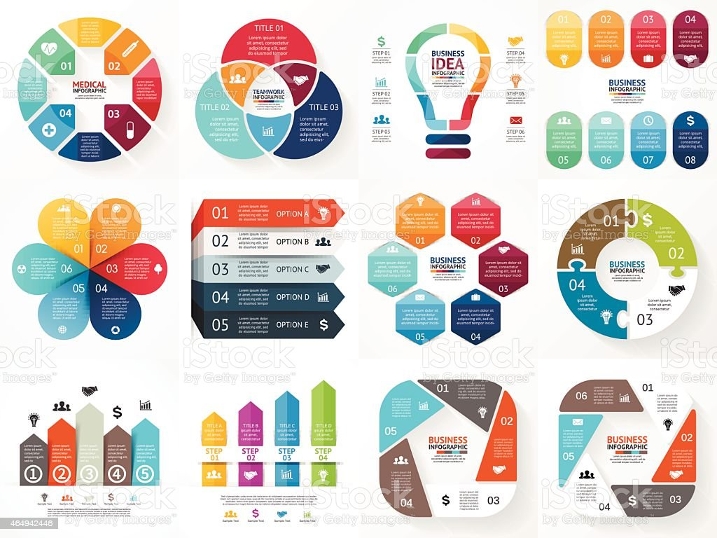 Vector infographics set. Collection of templates for cycle diagram, graph royalty-free stock vector art