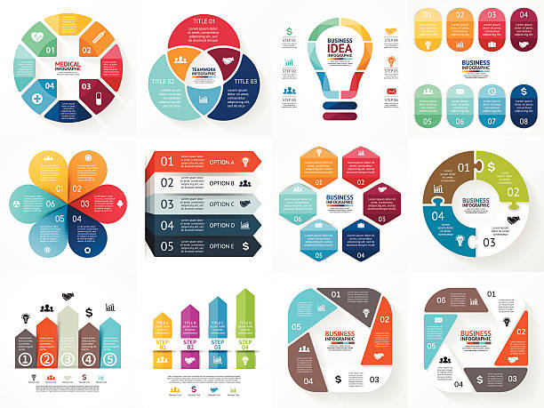 vector infographics set. collection of templates for cycle diagram, graph - three shapes stock illustrations, clip art, cartoons, & icons