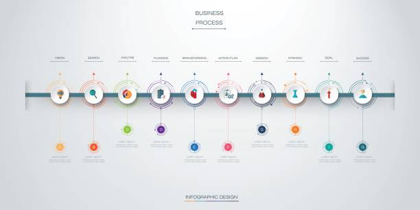 vector infographics timeline design - timeline infographics stock illustrations, clip art, cartoons, & icons