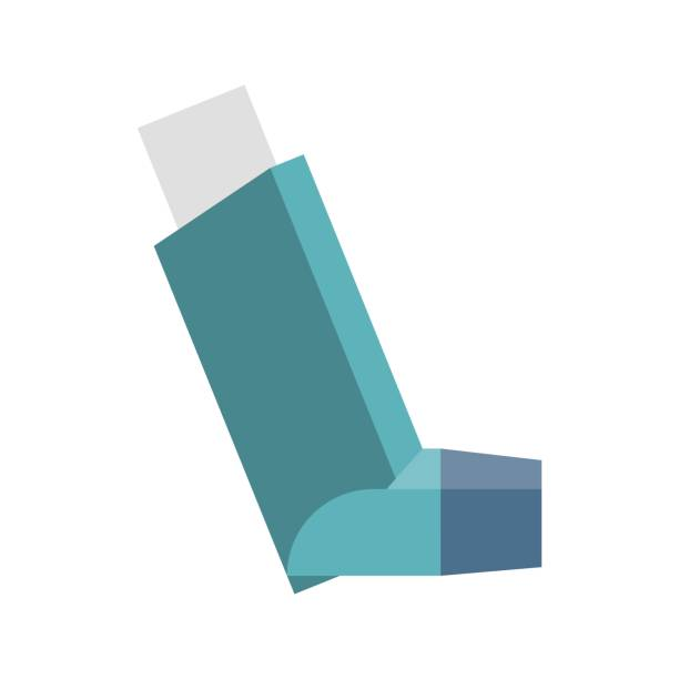 Vector inhaler Vector inhaler, flat design inhaling stock illustrations