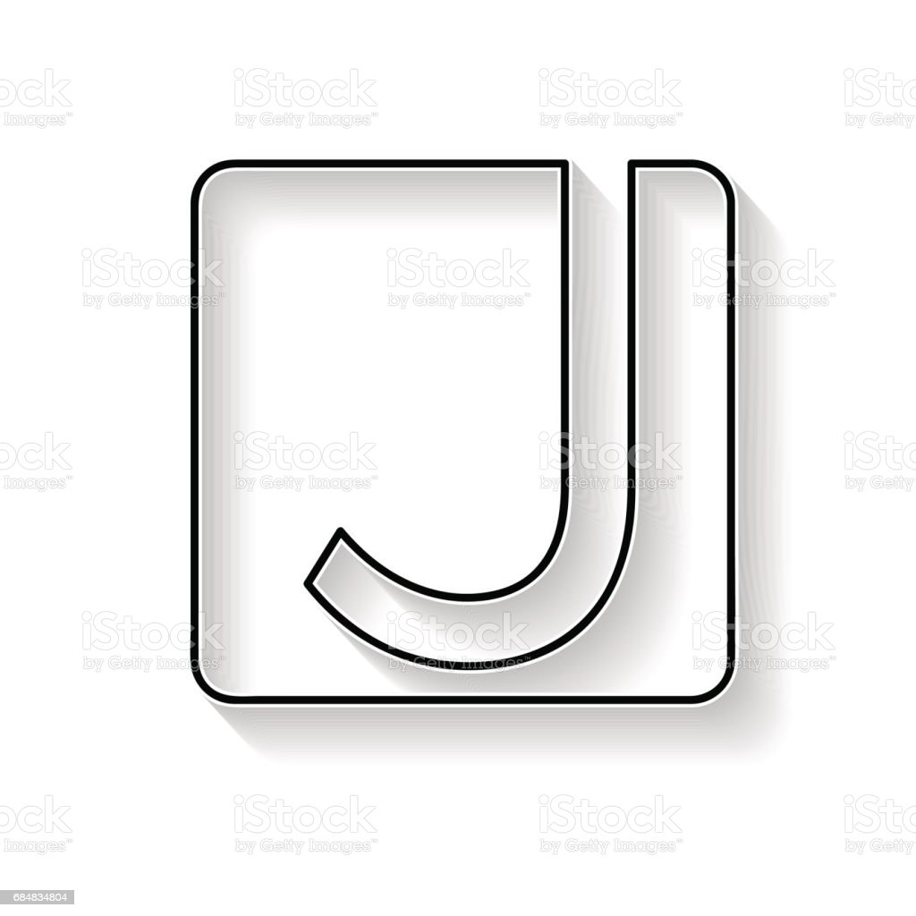 Vector initial letter J. Sign made with black line vector art illustration