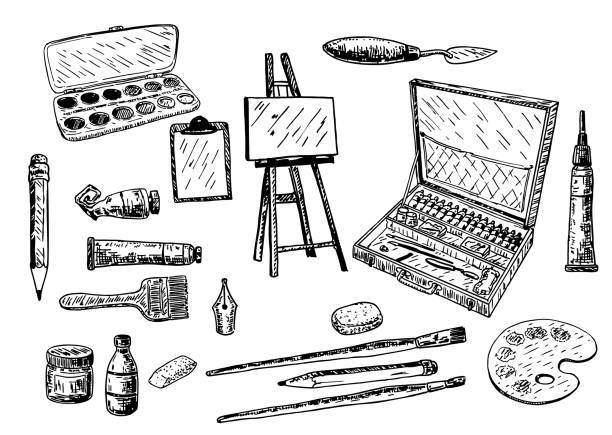 Vector ink hand drawn painting tools and accessories set vector art illustration
