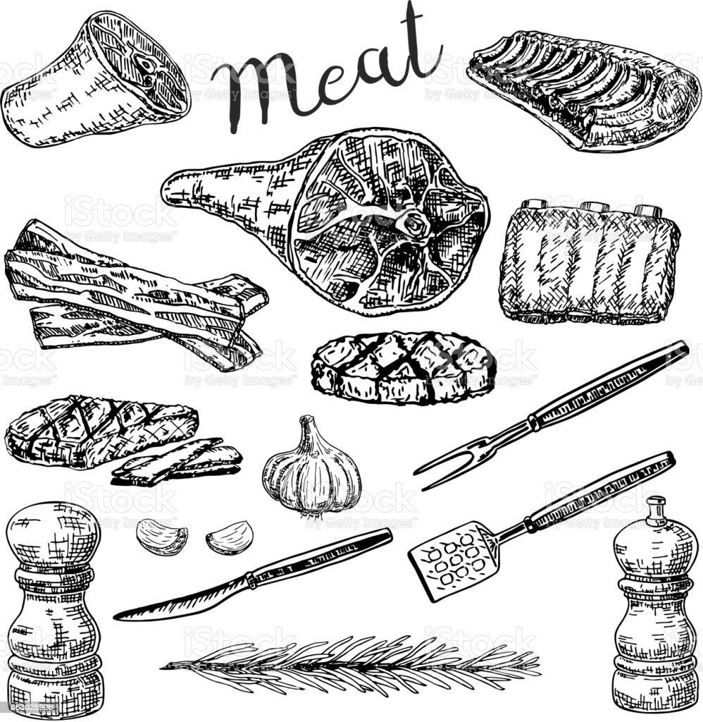 Vector ink hand drawn sketch style meat products set vector art illustration