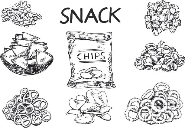 Vector ink hand drawn sketch style snack set vector art illustration