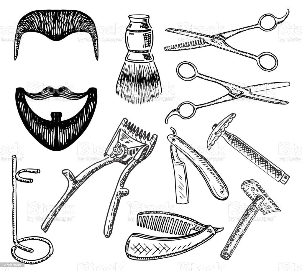 Vector ink hand drawn style barbershop set vector art illustration