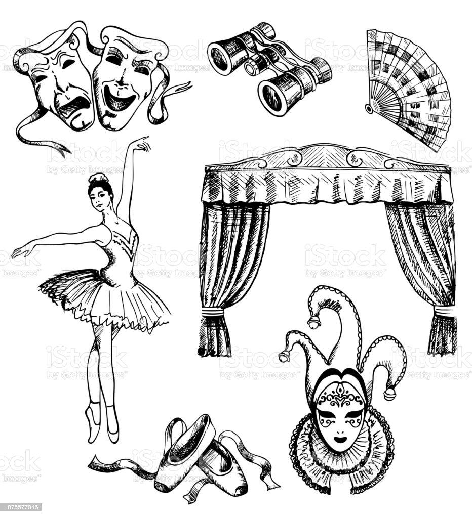 Vector ink hand drawn theater set vector art illustration
