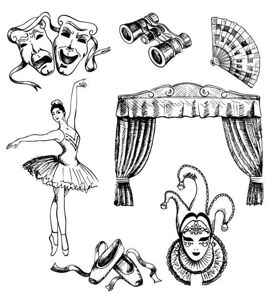 ベクトル インク手描き劇場セット - ステージのイラスト点のイラスト素材/クリップアート素材/マンガ素材/アイコン素材